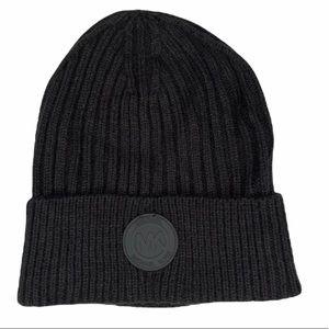 NEW Michael Kors Black Ribbed Knit Beanie Hat